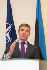 NATO Secretary General Anders Fogh Rasmussen speaks to the press in Tallinn, Estonia, in May. On Wednesday, the alliance chief said Russia should work to resolve Western concerns that it has violated a Cold War-era nuclear missile treaty.