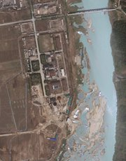An April 2012 satellite image of the Yongbyon nuclear complex in North Korea. Satellite pictures taken as recently as May 22 indicate the North could be within two months of restarting a plutonium-producing reactor at the site (AP Photo/GeoEye).