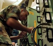 An ICBM maintenance worker connects equipment to a communication verification panel during an annual code change in 2006 at Minot Air Force Base, N.D. The U.S. Air Force on Tuesday said it is taking steps to improve the morale of ICBM launch personnel (U.S. Air Force photo).