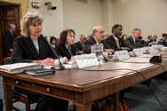 The Nuclear Regulatory Commission testifies at an oversight hearing of the House Energy and Commerce  Subcommittee on Energy and Power on May 7. From left to right, Chairwoman Allison Macfarlane and Commissioners Kristine Svinicki, George Apostolakis, William Magwood and William Ostendorff.