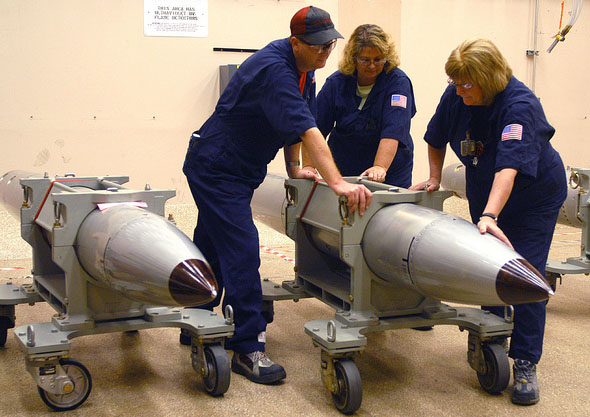 Technicians as the Pantex Plant in Texas prepare for a surveillance test of a B-61 nuclear gravity bomb in 2007. The House Armed Services Committee on Thursday approved legislation that demands the Energy Department certify that the B-61 fleet will be modernized by 2019 (U.S. National Nuclear Security Administration photo).