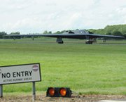 "A nuclear-capable B-2 Spirit from Whiteman Air Force Base, Mo., on Sunday taxis down the runway at RAF Fairford, England. A new congressional report warns of the potential for a ""shortfall"" in the Air Force's ability to mount long-range attacks with its bomber fleet."