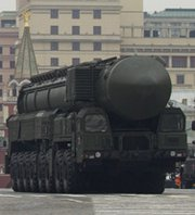 A Russian Topol-M ICBM carrier shown on display last month in Moscow's Red Square. Russia said it had conducted a trial launch last Thursday of a new, experimental long-range ballistic missile (AP Photo/Ivan Sekretarev).
