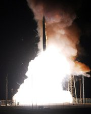 A Minuteman 3 intercontinental ballistic missile is launched from Vandenberg Air Force Base in California. The service expects to shortly wrap up a study of alternatives for maintaining a future ground-based strategic missile capability.