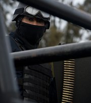 A Mexican federal law enforcement officer, seen in May. Armed thieves reportedly stormed a Mexican government compound and seized a system containing radioactive components.