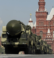 Russian Topol ICBMs roll through Moscow's Red Square in a 2009 parade. High-level Russian officials on Wednesday suggested they are less interested than President Obama in pursuing further cuts to long-range nuclear forces held by Russia and the United States (AP Photo/Ivan Sekretarev).
