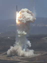 A Ground Based Interceptor is launched on Sunday from Vandenberg Air Force Base, Calif. The interceptor successfully neutralized an intermediate-range ballistic missile target over the Pacific Ocean, the Pentagon said.