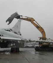 A Soviet-era Tu-160 Bomber is dismantled in Ukraine with backing from the Nunn-Lugar Cooperative Threat Reduction Program. Former U.S. Senator Richard Lugar (R-Ind.) last week voiced optimism over how anti-WMD activities would proceed under a new agreement negotiated by Washington and Moscow to replace the recently expired CTR implementing deal (U.S. Defense Threat Reduction Agency photo).