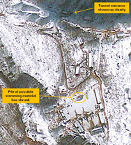North Korea's Punggye-ri nuclear test site, shown in a Jan. 23 satellite image. Pictures from last month show significant new digging at the location, a likely sign that Pyongyang is keeping its options open for carrying out future tests, an analyst said on Tuesday (AP Photo/GeoEye).