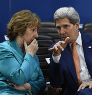 European Union foreign policy chief Catherine Ashton confers in Brussels on Wednesday with U.S. Secretary of State John Kerry. Senior diplomats convened in the Belgian capital on Thursday to discuss how they might restore momentum in nuclear negotiations with Iran.