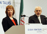 European Union foreign policy chief Catherine Ashton and Iranian Foreign Minister Javad Mohammad Zarif deliver remarks in Vienna last month, at the end of a multilateral meeting on Iran's nuclear program. Ashton is expected to travel to Tehran on Saturday, Iranian state media reported.