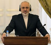 Iranian Foreign Minister Mohammad Javad Zarif holds a press conference in Tehran on Saturday. U.S. and Iranian officials said multilateral negotiations over Iran's atomic efforts could continue, despite escalating international tensions over Ukraine.