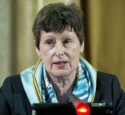 Angela Kane, U.N. high representative for disarmament affairs, addresses a plenary meeting of the international Conference on Disarmament last June in Geneva. Kane says she is optimistic that Syria will be able to meet a revised schedule for surrendering all of its chemical weapons by mid-April.