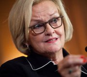 Senator Claire McCaskill speaks to the press in July on Capitol Hill. The Missouri Democrat on Tuesday took government contractors to task for their treatment of two whistleblowers who aired concerns about the safety of a plant being built in Washington state to process nuclear-weapons waste.