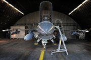 A U.S. F-16 fighter jet stationed in 2011 at Belgium's Kleine Brogel air base, one of several European military air installations believed to host U.S. nuclear weapons.