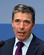 NATO Secretary General Anders Fogh Rasmussen speaks at the Brookings Institution in Washington on Wednesday. The alliance head said proposals for nuclear arms control in Europe could be affected by Russia's annexation of Crimea.