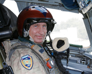 "Russian President Vladimir Putin poses inside a cruise missile-equipped Tu-160 strategic bomber in 2005. The United States is working ""very hard"" to bolster its defenses against potential cruise-missile threats from the Gulf of Mexico, a senior military official said last week."