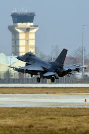 A U.S. F-16 lands at Aviano Air Base Italy in March 2011. A rapid deterioration in NATO-Russia ties has all but killed the hopes of arms control advocates who want U.S. tactical nuclear weapons withdrawn from Aviano and five other bases in Europe.