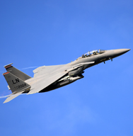 A U.S. F-15E Strike Eagle assigned to the 494th Fighter Squadron, based out of Royal Air Force Lakenheath in the United Kingdom, flies above Norway, last September. Such dual-capable U.S. strike aircraft deployed at bases in Europe could be tapped for a nuclear role, as some NATO allies' jets retire.