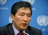 "Ri Tong Il, North Korea's deputy permanent representative to the United Nations, speaks at a Monday news conference in New York City. Ri said his nation may take unspecified ""nuclear measures"" in response to Washington policies."