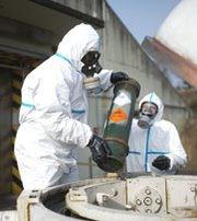 Workers handle a mock grenade during a March demonstration at a German facility expected to support the destruction of warfare chemicals from Syria. A U.S. diplomat on Wednesday avoided publicly stating whether the international community is aware of the full extent of Syria's chemical arsenal.