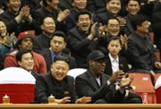 North Korean leader Kim Jong Un, left, and former NBA star Dennis Rodman watch a basketball game in Pyongyang on Feb. 28. The U.N. Security Council is preparing to approve new sanctions in response to the North's latest nuclear test (AP Photo/VICE Media).