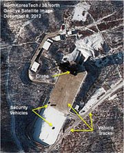 A December 2012 satellite image of the Dongchang-ri rocket launch site in North Korea. Recent surveillance pictures show no signs of preparations for launches in coming weeks from Dongchang-ri or the North's Musudan-ri facility, according to a new analysis (AP Photo/GeoEye).
