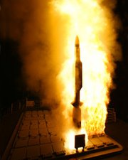 A U.S. Standard Missile 3 interceptor lifts off in a 2007 trial. The Obama administration on Tuesday said plans to implement the second and third phases of its European Phased Adaptive Approach for missile defense are funded and proceeding on schedule (AP Photo/US Navy).