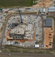 Construction of the U.S. National Nuclear Security Administration's Mixed Oxide Fuel Fabrication Facility is seen in this 2010 aerial photograph. The Obama administration is proposing to put completion of the facility on hold as part of its fiscal 2015 budget plan.