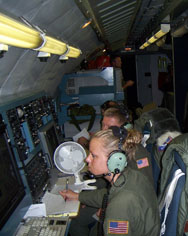 U.S. Air Force personnel work aboard an OC-135B Open Skies aircraft during an August 2007 mission. Republican lawmakers in both chambers of Congress are attempting to block any certification of a Russian surveillance plane equipped with advanced sensors to conduct overflights of the United States under the Open Skies Treaty.