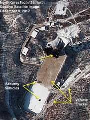 North Korea's Dongchang-ri missile complex, as seen by commercial satellite in December 2012. An expert analysis of recent surveillance images of the site indicates that at least one engine test of a strategic missile took place within roughly the last month.
