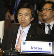 South Korean Foreign Minister Yun Byung-se attends a regional ministerial meeting in Indonesia last October. Yun on Tuesday urged that the international community approve strong punishments against North Korea if it proceeds with plans to carry out another nuclear test.