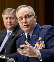 U.S. Air Force Chief of Staff Gen. Mark Welsh, right, and Air Force Secretary Michael Donley, left, testified on Wednesday regarding troubles with ICBM control personnel stationed at a base in North Dakota (AP Photo/Scott Applewhite).