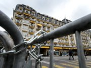 A January view of chains and barriers outside the Montreux Palace in Geneva. The Swiss city will host the fourth consultation session for Mideast states and sponsoring nations, to discuss the possible regional elimination of weapons of mass destruction.
