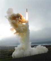 "A U.S. ballistic missile interceptor takes off in a Jan. 26 flight test at Vandenberg Air Force Base in California. A senior Pentagon official on Thursday said the East Coast is ""well protected"" against potential future missile threats from Iran and North Korea in the absence of a new interceptor base sought by a number of Republican lawmakers (U.S. Missile Defense Agency photo)."
