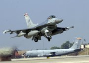A U.S. F-16 fighter jet takes off in 2002 from Incirlik Air Base in Turkey, one of six military sites in Europe believed to host U.S. nonstrategic nuclear weapons. The modernization schedules of the European nuclear-capable aircraft that would deliver the B-61 gravity bombs in an attack could force NATO's hand in deciding whether to maintain the weapons' forward-deployment on the continent, issue specialists said (AP Photo/Burhan Ozbilici).