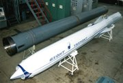 A Russian Yakhont antiship cruise missile, shown in 1997. Russia has exported an advanced version of the weapon to Syria, according to U.S. officials  (AP Photo/Jane's Defense Weekly).