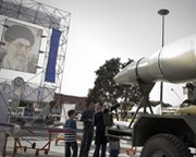 An Iranian Shahab 3 ballistic missile, shown on display in Tehran in 2010. A new analysis suggests an accused Chinese-born proliferator may intend to manufacture guidance components for ballistic missiles.