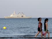 The HDMS Esbern Snare, a Danish warship helping to escort chemical-arms shipments from Syria, is seen earlier this month off the coast of Cyprus. The U.S. Defense Department on Tuesday said Syria's government has begun moving to surrender its final declared warfare chemicals.