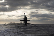 The Ohio-class ballistic missile submarine USS Rhode Island sails into Naval Submarine Base Kings Bay in Georgia in March. Plans for replacing the submarines with a newly designed craft will remain crucial for the U.S. nuclear arsenal, a senior Defense official said (U.S. Navy photo).