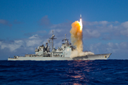 A Standard Missile 3 interceptor is fired from the Aegis-equipped warship USS Lake Erie in a May 13 trial. Chinese hackers have targeted designs for Standard Missile and Aegis ballistic missile defense systems, according to a new Pentagon report (U.S. Missile Defense Agency photo).