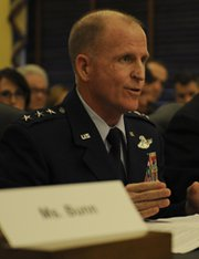 Air Force Lt. Gen. Stephen Wilson, the head of Global Strike Command, testifies before the Senate in March. Air Force brass have recommended that Wilson's position be elevated from a three-star to a four-star billet, partly in response to recent ethics scandals in the command's nuclear missile sector.
