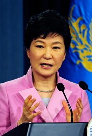 South Korean President Park Geun-hye talks to the press in Seoul in January. The president on Wednesday warned that Pyongyang could spark a regional nuclear domino effect if it conducts another atomic test.