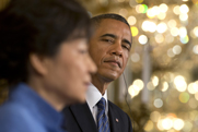 President Obama and South Korean President Park Geun-hye speak to reporters on May 7 at the White House. A 1992 declaration could prevent Seoul from producing nuclear fuel, despite its wish to include U.S. consent for such activity in a new trade agreement (AP Photo/Jacquelyn Martin).