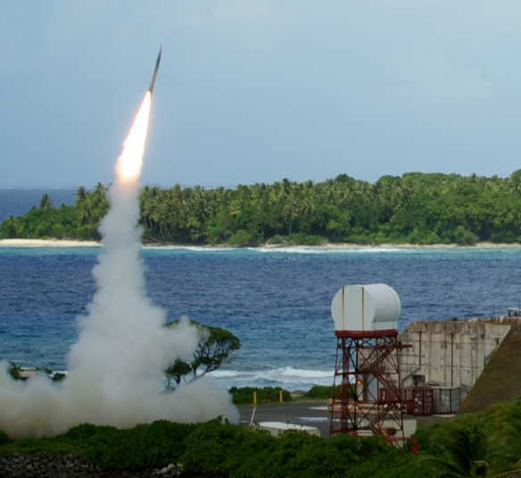 A U.S. Terminal High-Altitude Area Defense missile interceptor takes off during an October 2012 intercept test over the Pacific Ocean. Designs for the THAAD system and other U.S. antimissile systems with a role in East Asia ballistic missile defense were reportedly hacked by China (U.S. Missile Defense Agency photo).
