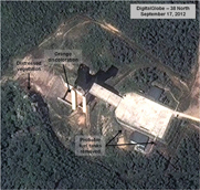 A Sept. 17 satellite picture of a North Korean installation believed to house recent testing of rocket engines. That would indicate the North is moving ahead with work on extended-distance ballistic missiles, according to an analysis from the U.S.-Korea Institute at Johns Hopkins School of Advanced International Studies (AP Photo/DigitalGlobe/U.S.-Korea Institute).