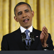 President Obama, speaking to reporters at the White House on Wednesday, pledged to press for a diplomatic resolution to concerns that Iran is seeking a nuclear-weapon capability (AP Photo/Carolyn Kaster).