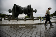 A security officer in 2011 walks past a low-pressure turbine rotor at an atomic energy site in Taiwan's Wanli district. Taipei and Washington have begun talks on renewing a nuclear trade agreement in which the island state might include key nonproliferation provisions (AP Photo/Wally Santana).