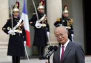 "International Atomic Energy Agency chief Yukiya Amano, shown on Monday in Paris, said the continued nuclear standoff with Iran is ""worrying"" (AP Photo/Christophe Ena)."