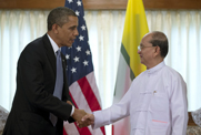 President Obama, left, shakes hands with Myanmar President Thein Sein on Monday in Yangon. Myanmar's move to allow greater scrutiny by the U.N. nuclear watchdog could help to address suspicions that the nation had sought to develop nuclear weapons (AP Photo/Carolyn Kaster).